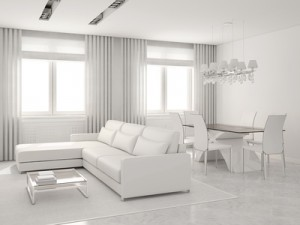 Modern interior of living-room and dining-room.
